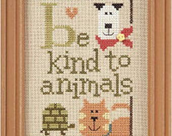 Lizzie Kate Green Flip-It Series - Be Kind To Animals F94 Counted Cross Stitch Pattern with Button