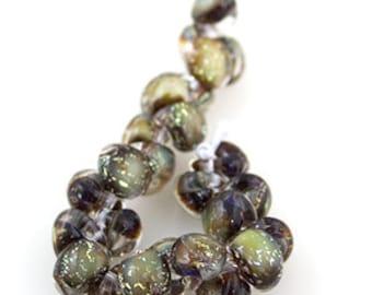 5 Glitter - Midnight Spell Teardrop Handmade Lampwork Beads - 10mm (22096)