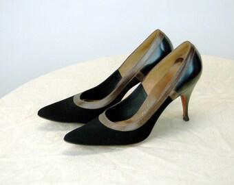 1950s Deliso Debs high heels black suede two toned stiletto heels Size 5.5 AA