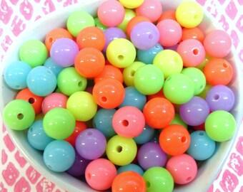 50x 10mm Neon Resin Multi color Globe beads .. Fluoro Fun