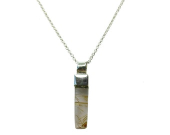 Faísca Necklace - Sterling Silver Rutilated Quartz Pendant