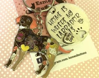 Brown Labrador keyring, lab owner gift, Labrador gift, Hand Stamped Key Ring, Dog Owner, pet Owner, Pet Lover,
