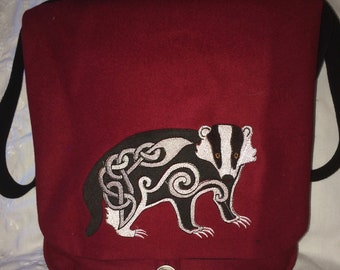 Norse Style Badger Haversack  - wool and silk