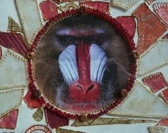 "Framed collage painting ""Mandrill"" red and white"