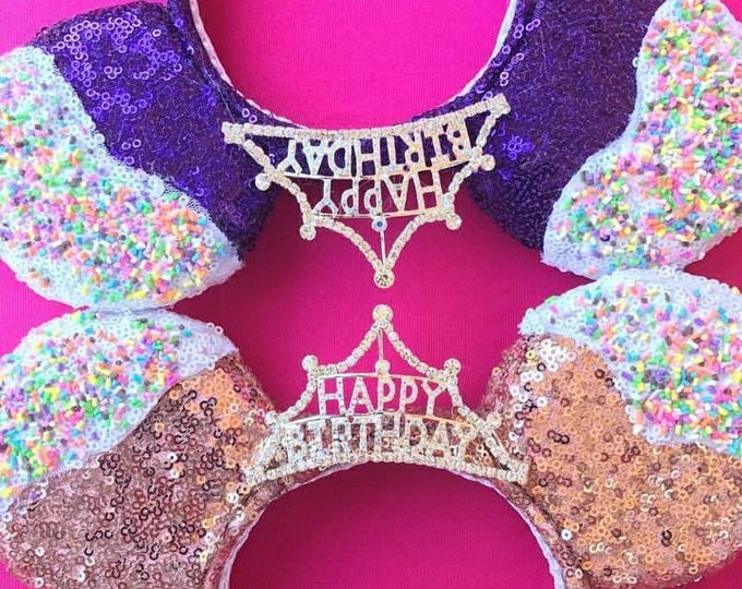 Happy Birthday Cupcake Minnie ears with Silver Crown Tiara and Sprinkles