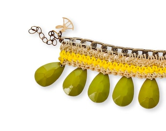 Green Hippie Bracelet, Drop Bead  Bracelet, Chrocet Bracelet, Cuff Bracelet, Boho Jewelry