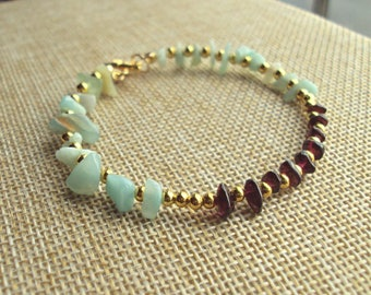 Ladies bracelet with semi precious stone beads of Amazonite and Garnet, Christmas, Birthday, Anniversary gift.