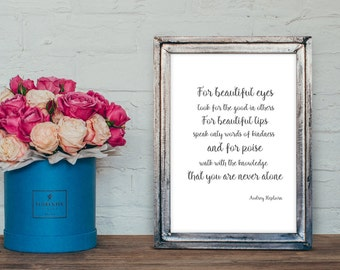 Audrey Hepburn Quote Typography A4 Print- new home gift - home decor- motivational quote print