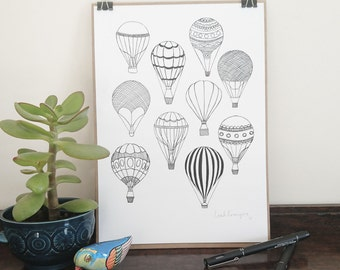Hot Air Balloons || A4 Signed Print