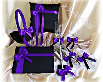 Regency purple and black wedding set, ring pillow, basket, guest book, pen set, cake set and champagne glasses.