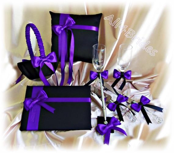 Regency purple and black wedding set ring pillow basket
