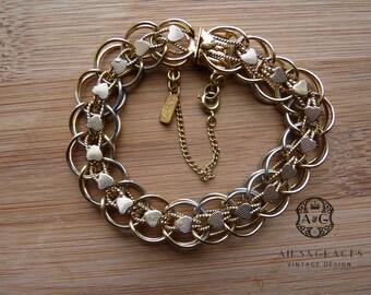 Monet Charm bracelet, gold tone, 1960's,