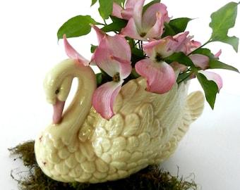 Vintage Swan Figurine,  Ceramic Swan Planter, Country Cottage Decor, Vintage Wedding Cake Topper, Vintage Wedding Decor, 1950s