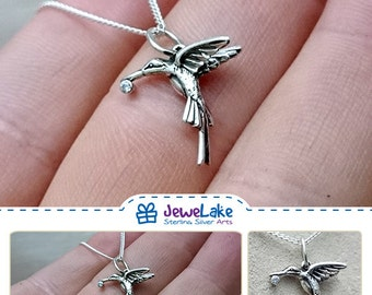 bird necklace bird jewelry Hummingbird necklace bird lover Hummingbird jewelry silver bird necklace Hummingbird pendant Hummingbird charm