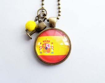 Flag of Spain Necklace - Spanish Flag Jewelry - Country of Spain - Espana - Patriotic Pendant - Europe - Custom Jewelry - Red and Yellow