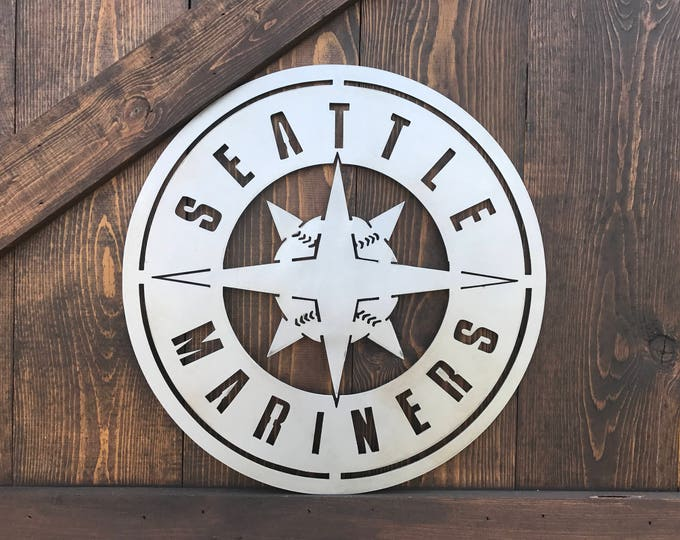 Sport team signs, Mariners, Seattle, Baseball signs, Boys room, Office decor, Man-cave, Game room, Metal Signs
