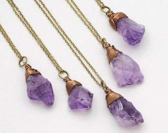 Raw Amethyst Necklace Bronze Crystal Gemstone Necklace Rough Amethyst Crystal Pendant Boho Style Layering Necklace February Birthstone