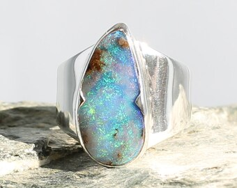 Boulder Opale Silver Ring. Size: 6.25. Natural stone. Gemstone ring. Gemstone opal ring. Opal Ring size M UK. Boulder opal cabochon.