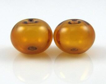 Topaz Hollow Lampwork Glass Bead Pairs