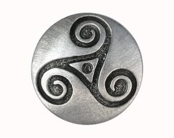 2 Celtic Triple Spiral Triskele 7/8 inch ( 22 mm ) Pewter Buttons