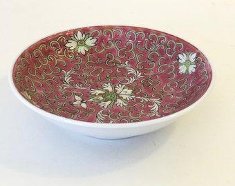 Japanese Porcelain Dish - Lotus Flower Bowl - Pink Trinket Dish - Asian Bowl - Oriental Bowl - Ceramic Ring Dish - Asian Decor -Gift for Her