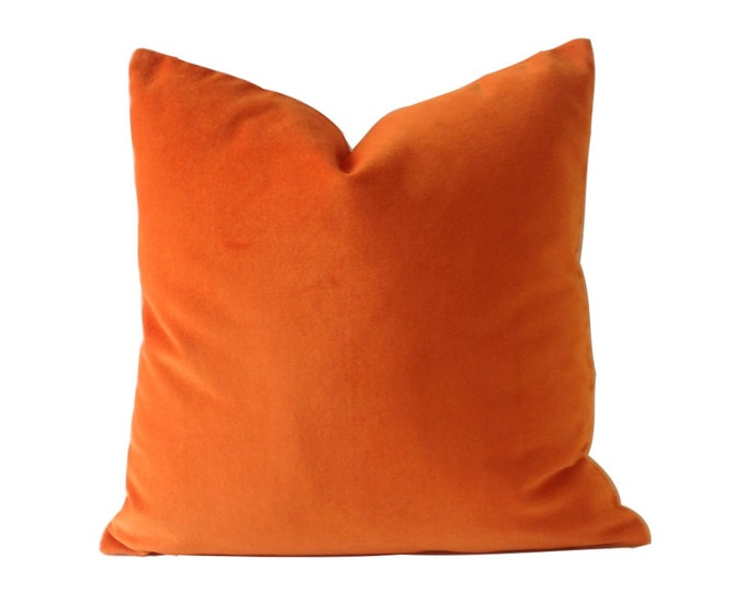Orange Velvet Cotton Velvet Pillow Cover - Decorative Accent Throw Pillows -Invisible Zipper Closure -Knife Or Piping Edge -16x16 to 26x26
