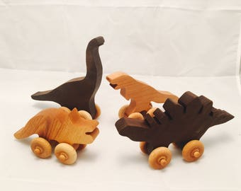 Wood Dinosaur Set handmade wooden toy dinosaurs toys