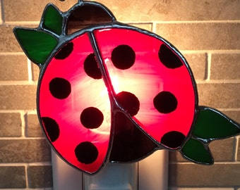 Ladybug stained glass Nightlight