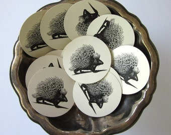 Porcupine Woodland Tags Round Paper Gift Tags Set of 10