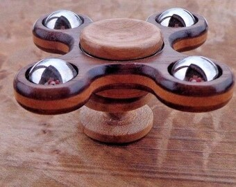X Quad EDC hand spinner Stabilized Wood Walnut and Cherry Chrome Fidget toy