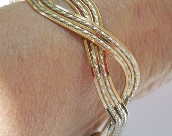 Distinctive Sterling and Gold Filled Woven Cuff