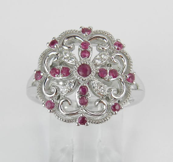 Vintage Reproduction White Gold Diamond and Ruby Cocktail Cluster Ring Size 6.75