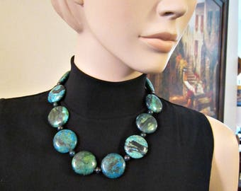 """Chrysocolla Agate Stone Necklace Bold Blue Green Flat Round Gemstone Necklace 20"""" Toggle clasp Beaded Necklace Chunky"""