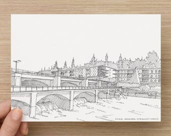 Ink Sketch of Ballard Locks in Seattle, Washington - Drawing, Art, Architecture, Engineering, River, Pen and Ink, 5x7, 8x10, Print