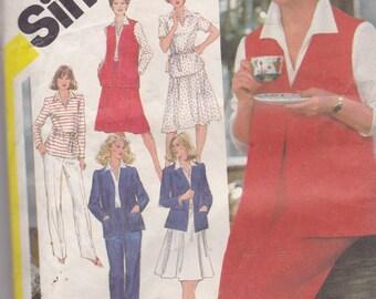 Simplicity 5215 Vintage Pattern Womens Unlined Jacket,Vest, Top, Pants, and Skirt Size 18 1/2, 20 1/2 UNCUT