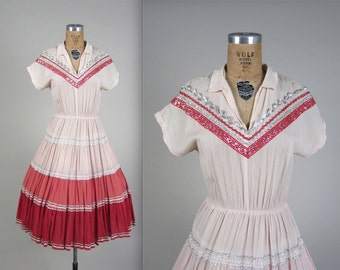 Vintage 1950s Patio Dress // 50s Western Squaw Dress // Square Dancing Dress // Circle Skirt // Pink Rose Red Country Western Cowgirl