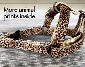 "3/8"" Animal Print Harnesses, Cheetah Dog Harness, Puppy Harness, Teacup Breed Step-in Harness, Peacock Print, Fox Print, Ladybug"