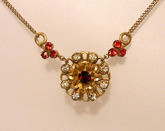 Faux Ruby Necklace