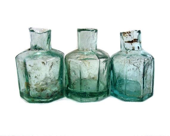 "2.25"" Antique Aqua Glass Ink Bottle Collection"