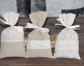 "Romantic set of 3 Lavender sachets ""Hearts"". Hand-made."