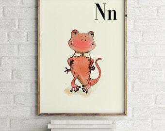 Newt print, nursery animal print, alphabet cards animals, alphabet letters, abc letters, alphabet print, animals prints for nursery