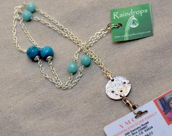 ID Badge Holder.  Blue Silver Chain Lanyard. Amazonite  - Turquoise Gemstone Necklace. Name Badge Holder. Nurse Name Badge Holder.