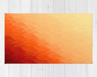 Area Rug, Orange Rug, Orange Area Rug, Orange Texture Ombre Rug, Orange Decorative Rug, Woven Area Rug, 2x3 Rug, 3x5 Rug, 4x6 Rug
