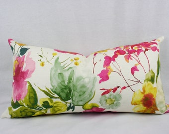 Pink, Green, and Yellow Watercolor Floral Textured Cotton Pillow Cover, Modern Floral, Toss Pillow, Throw Pillow, Accent Pillow 16 X 26 inch