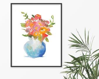 Watercolor Florals in Blue Vase Fine Art Print, Watercolor Bouquet Print