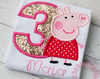 Girls or Boys Peppa Pig Inspired Applique Embroidered Personalized Tee Shirt, George Pig Age Shirt - First Birthday Shirt - Second Birthday