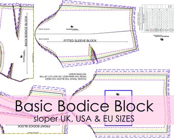 Basic Bodice Block- Sloper- In U.K, U.S & E.U Sizes - Ideal For Pattern Cutters- Colour Printed- Make Your Own Patterns!