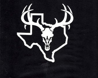 322- Texas Deer Hunting skull car/truck decal sticker