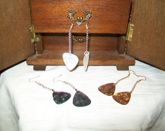 Pearlized Guitar Banjo Mandolin Pick Earrings