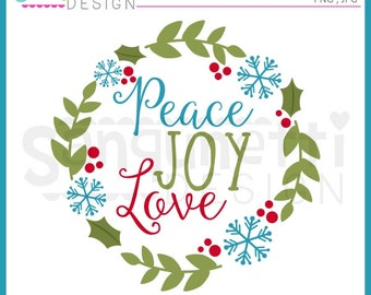 Wreath clipart, Christmas clipart, winter clipart, peace clipart, joy clipart, Instant download